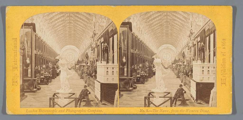 Interieur van het Palace of Art and Industry op de Wereldtentoonstelling van 1862, gezien vanaf de westzijde