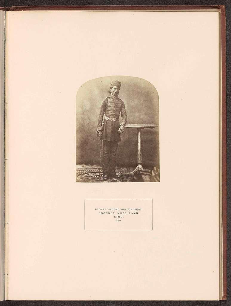 Portret van een soldaat in het tweede Baloch regiment