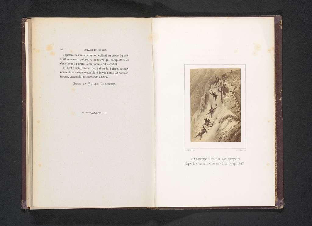 Fotoreproductie van een illustratie van de ramp van de Matterhorn door Gustave Doré