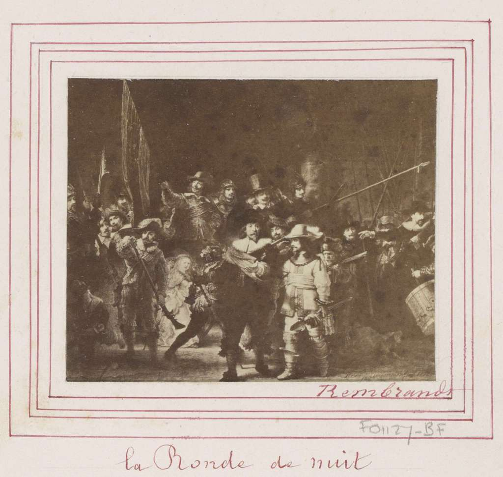 Fotoreproductie van (vermoedelijk) een prent naar het schilderij De Nachtwacht door Rembrandt