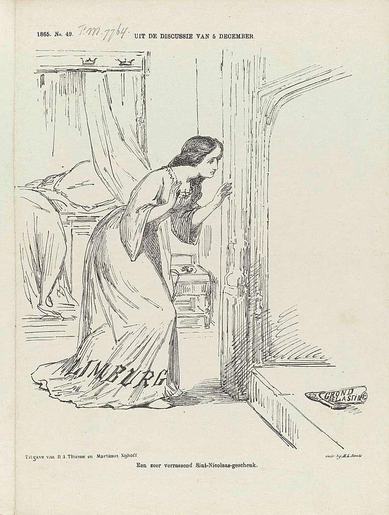 Spotprent op de gedreigde wijziging in de grondbelasting van Limburg, 1865
