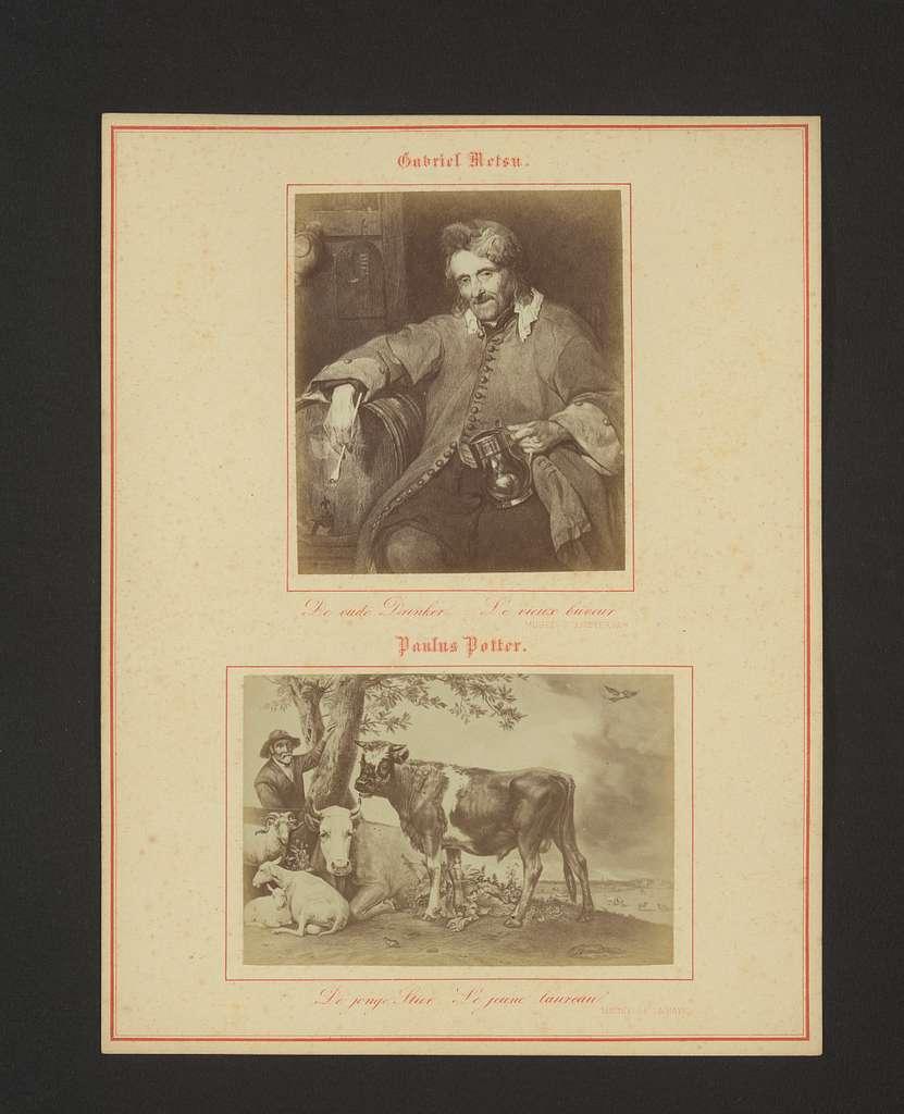 Fotoreproducties van De oude drinker door Gabriël Metsu en De stier door Paulus Potter