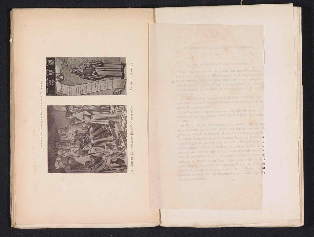 Fotoreproducties van twee tekeningen naar muurschilderingen in de Schepenzaal in het Stadhuis van Kortrijk, voorstellende Diederik van Assenede voor de Maagd van Kortrijk en Siger van Kortrijk