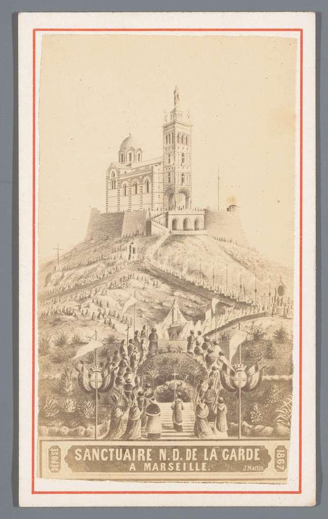 Fotoreproductie van de prent Sanctuaire N.D. de la Garde a Marseille naar J. Martin