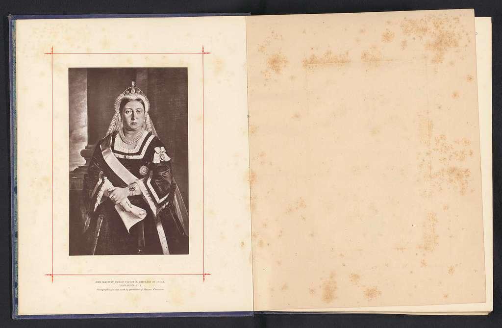 Fotoreproductie van een portret van koningin Victoria