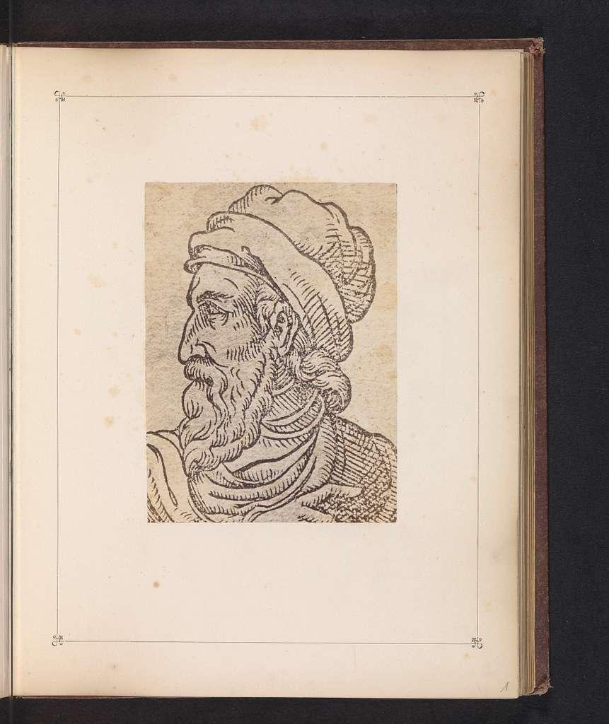 Fotoreproductie van een prent, voorstellende een portret van Johannes Gutenberg