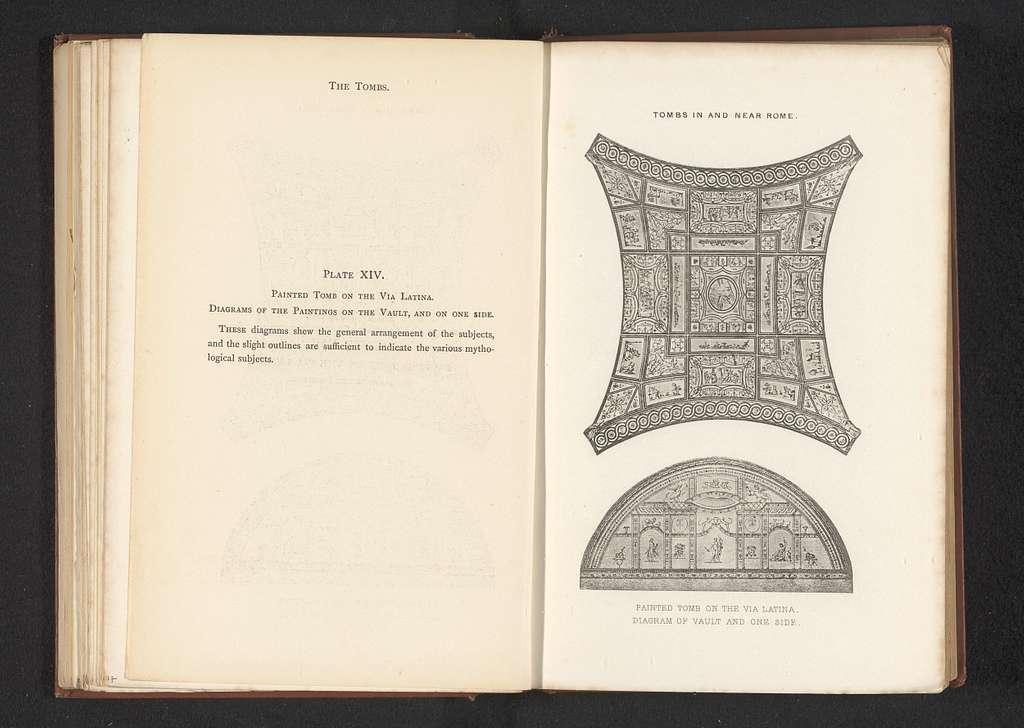 Fotoreproductie van vermoedelijk twee prenten van de decoratie van een tombe aan de Via Latina in Rome