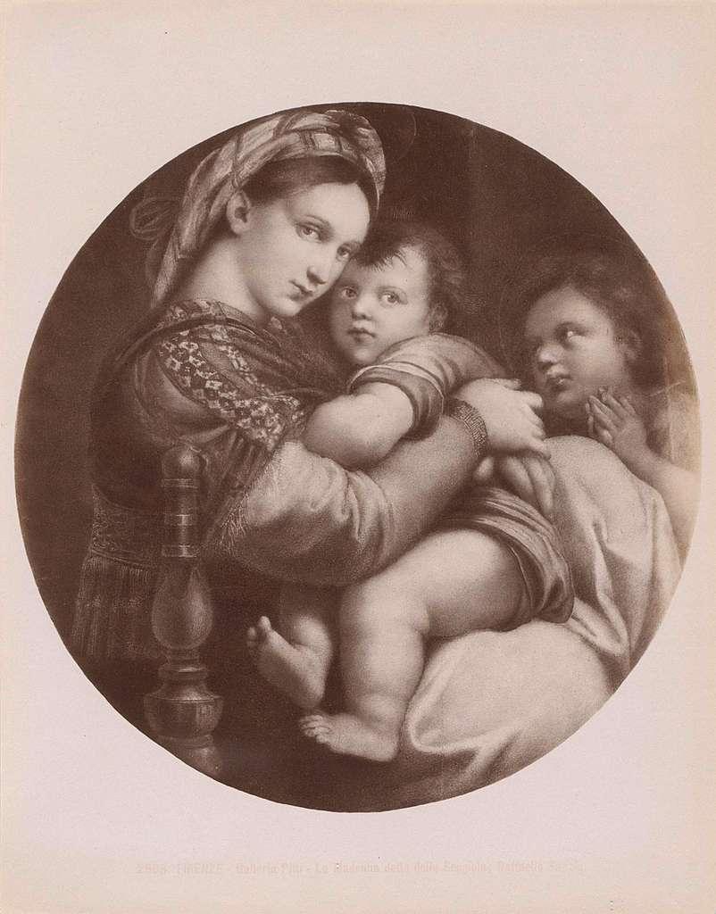 Fotoreproductie van het schilderij 'Madonna della seggiola' door Rafaël