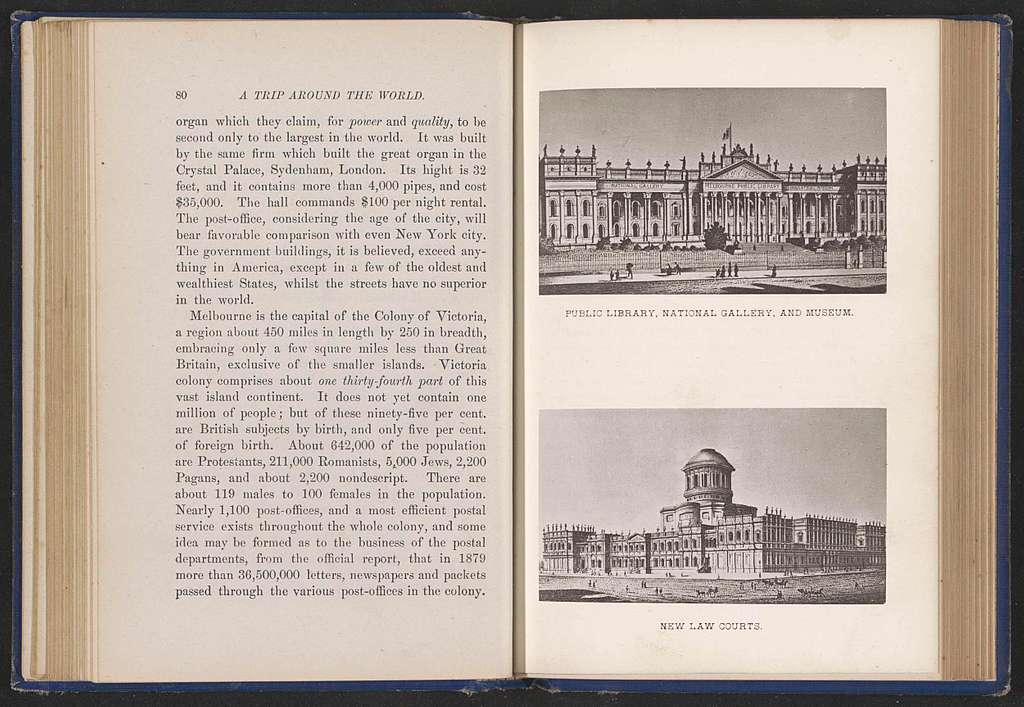 Twee fotoreproducties van tekeningen, voorstellende gebouwen te Melbourne
