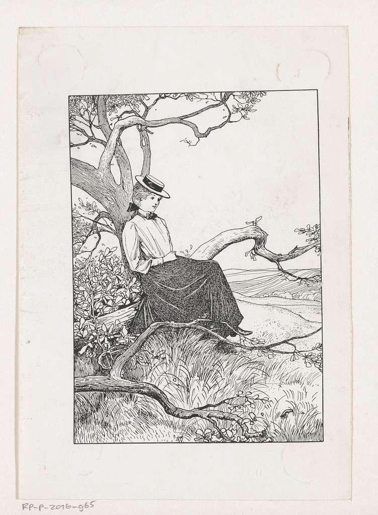 Zittend meisje op een boomtak