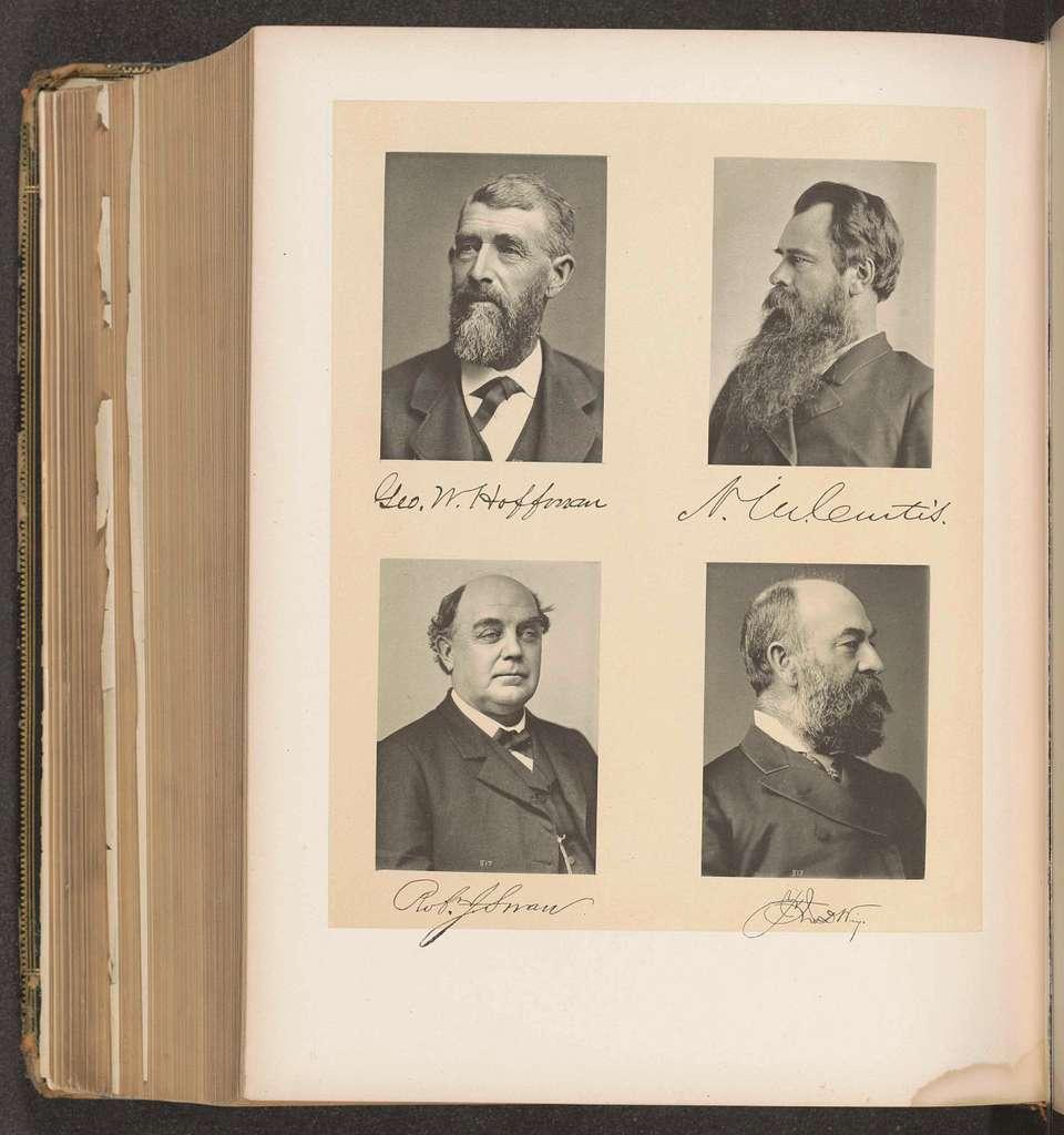 Portretten van vier voorzitters van de agrarische sociëteit van de staat New York