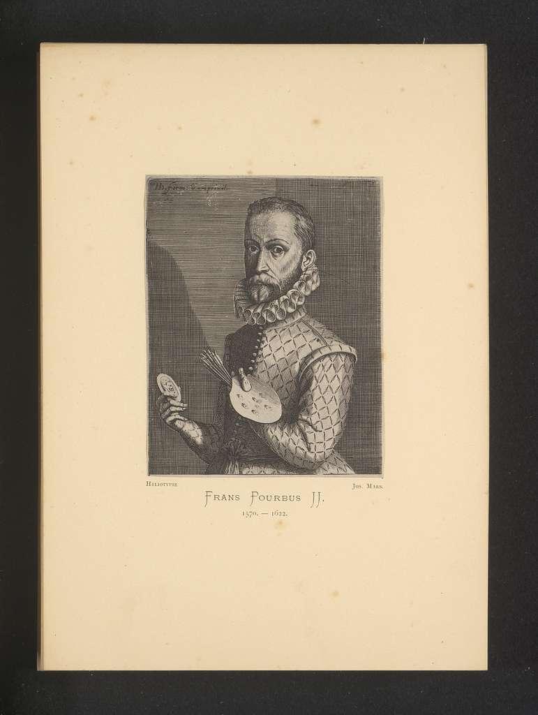Reproductie van een gravure van een portret van Frans Pourbus (II) door Hendrick Hondius