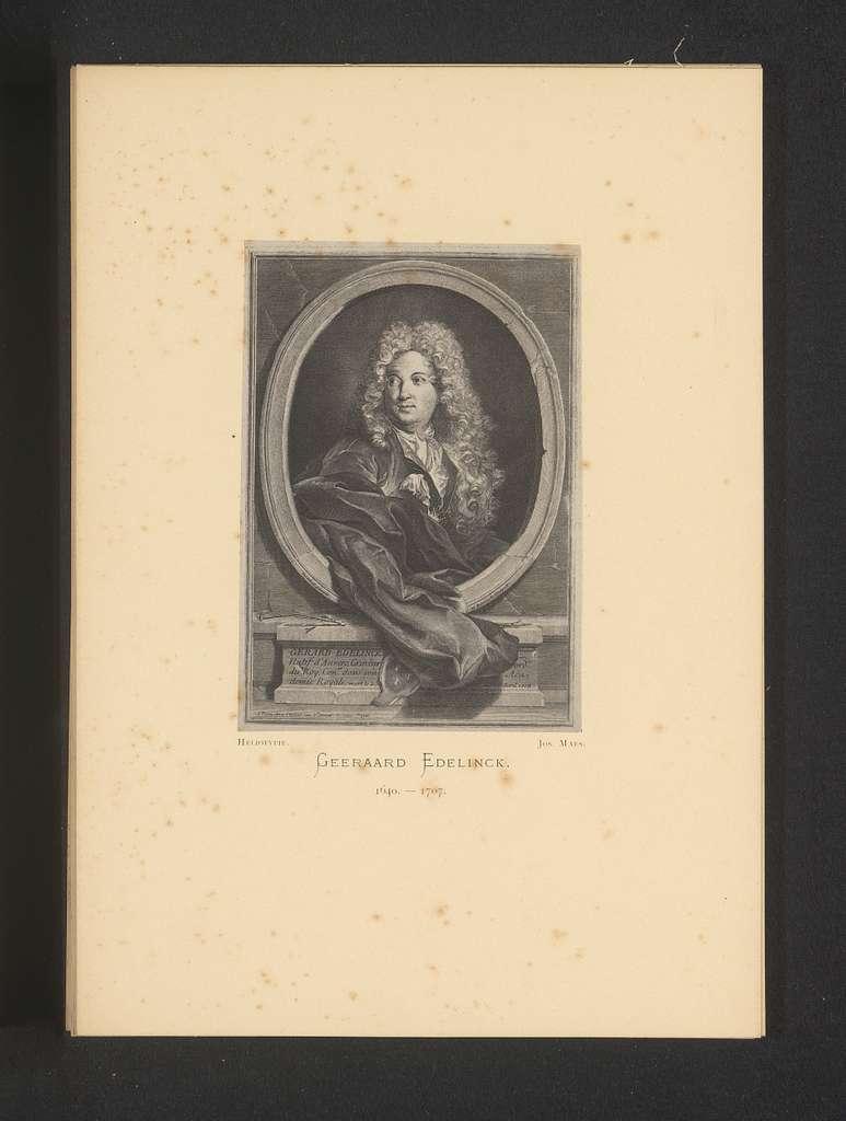 Reproductie van een gravure van een portret van Gerard Edelinck door Nicolas Etienne Edelinck