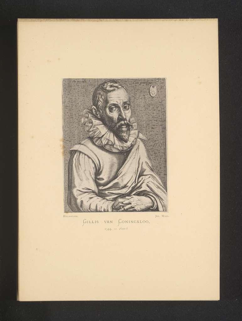Reproductie van een gravure van een portret van Gillis van Coninxloo door Hendrick Hondius