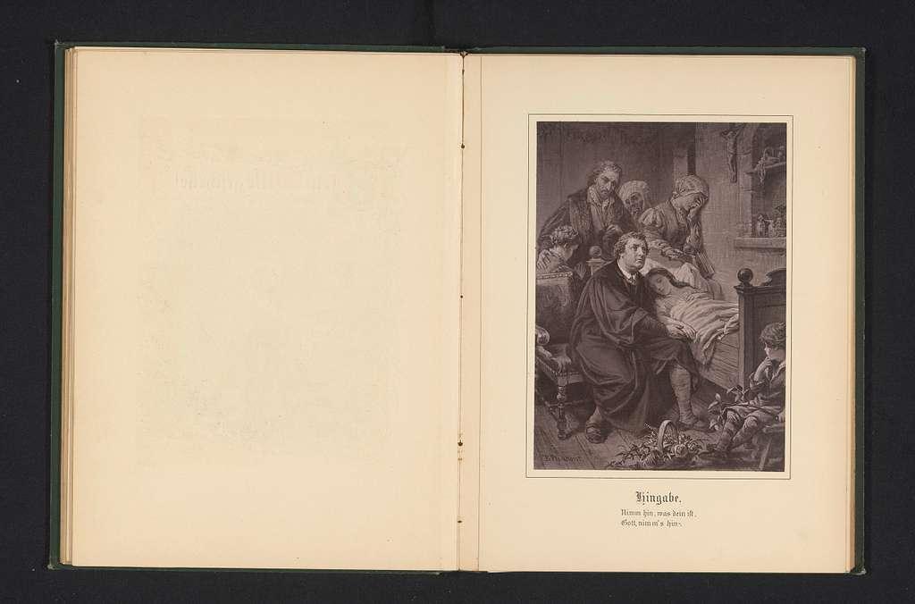 Fotoreproductie van een schilderij van mensen rond een bed van iemand die ziek is of sterft