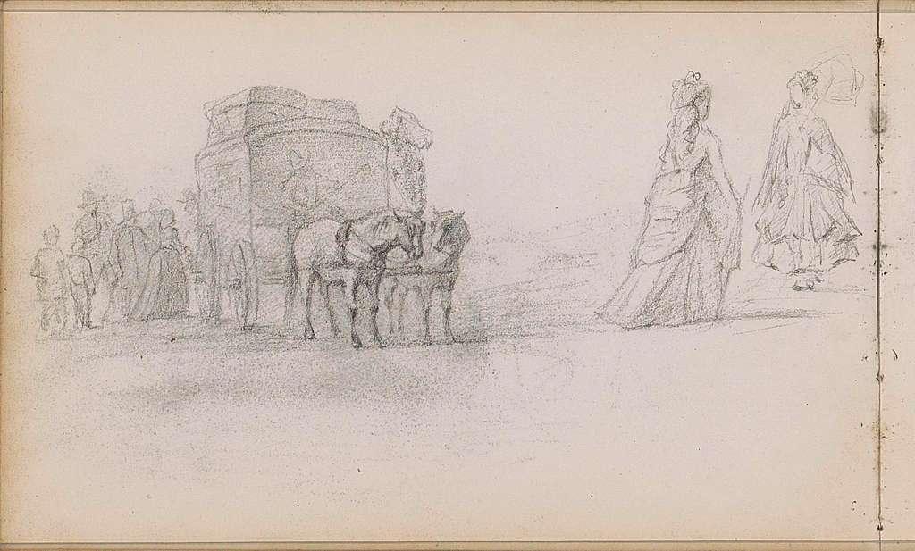 Paardenkoets en figuren op een straat