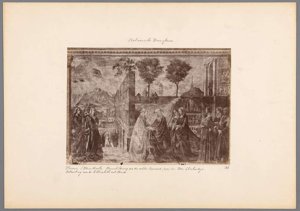 Fotoreproductie van een fresco in de Santa Maria Novella te Florence door Domenico Ghirlandaio, voorstellend de ontmoeting van Elizabeth en Maria
