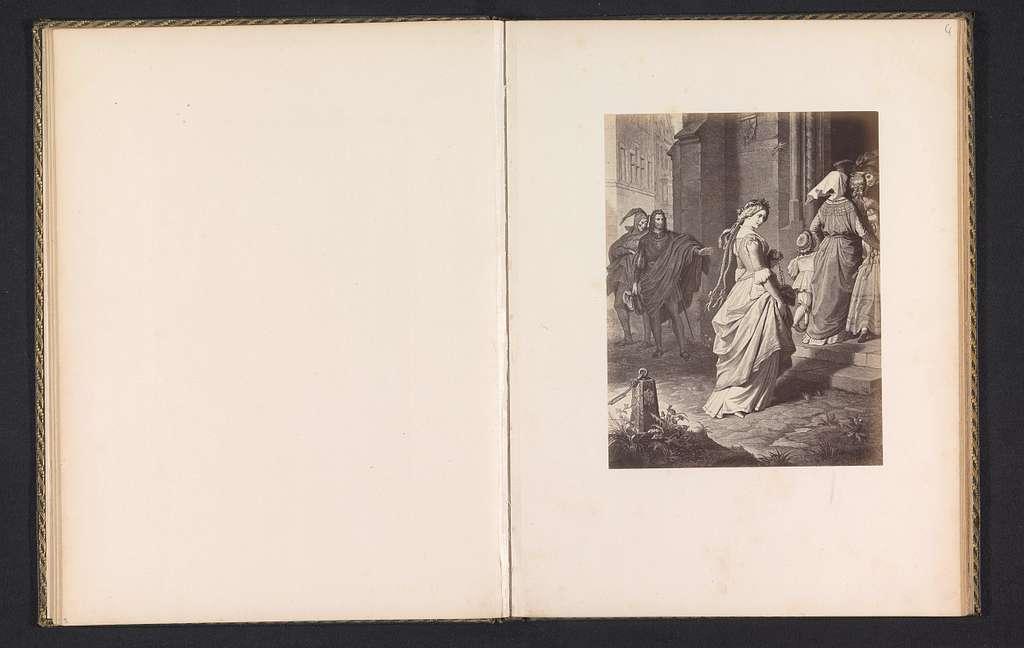 Fotoreproductie van een prent van een scene uit Faust, voorstellende Gretchen onderweg naar de kerk