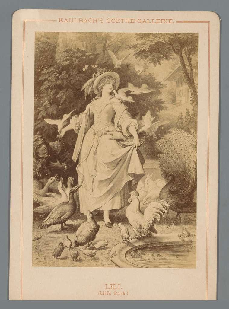 Fotoreproductie van een tekening van Lili uit een gedicht van Johann Wolfgang Goethe