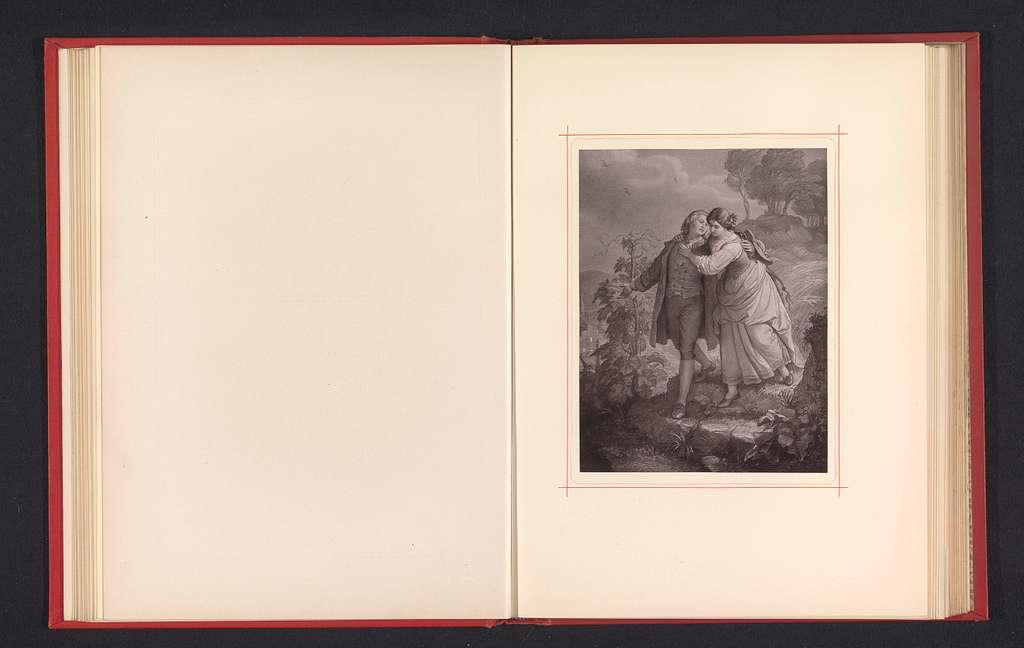Fotoreproductie van een tekening, voorstellende Hermann en Dorothea