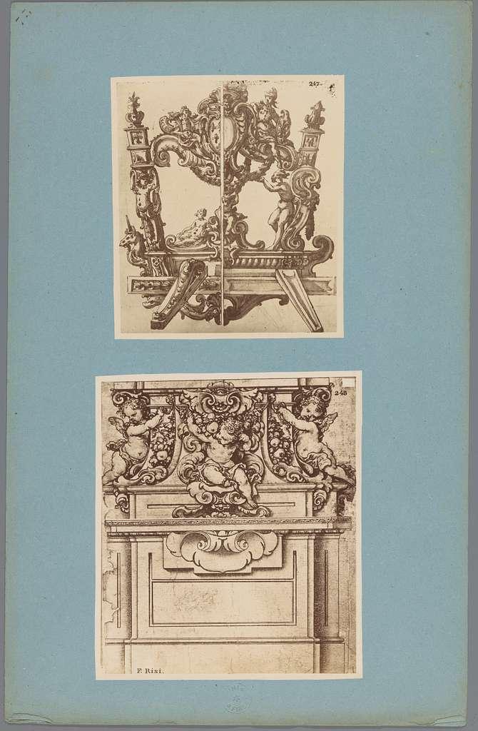 Twee fotoreproducties van tekeningen van decoraties