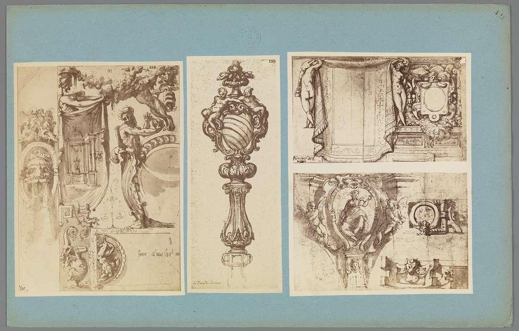 Vier fotoreproducties van ornamenttekeningen