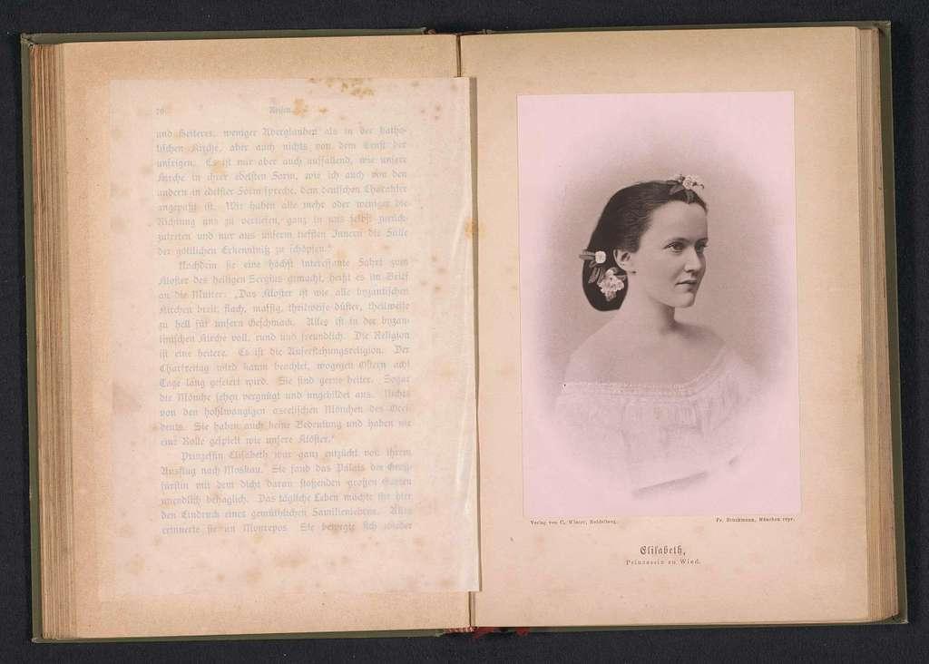 Fotoreproductie van een schilderij, voorstellende een portret van prinses Elisabeth zu Wied