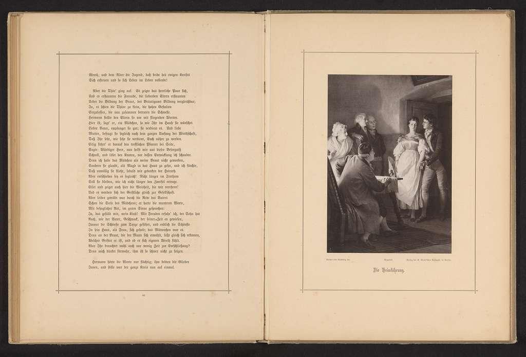 Fotoreproductie van een schilderij, voorstellende Hermann en Dorothea treden binnen bij de ouders van Hermann