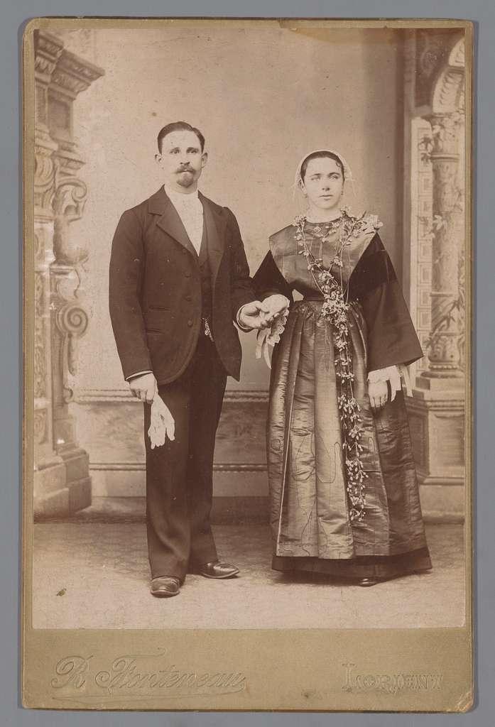 Portret van een onbekende man en vrouw, vermoedelijk een bruidspaar