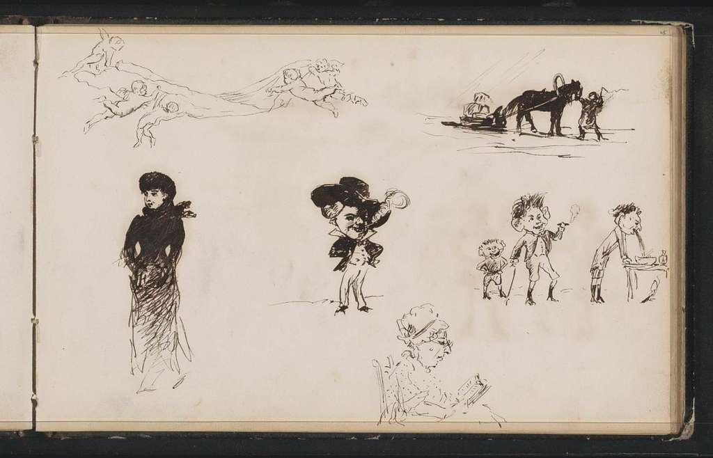 Studieblad, onder andere met karikaturen