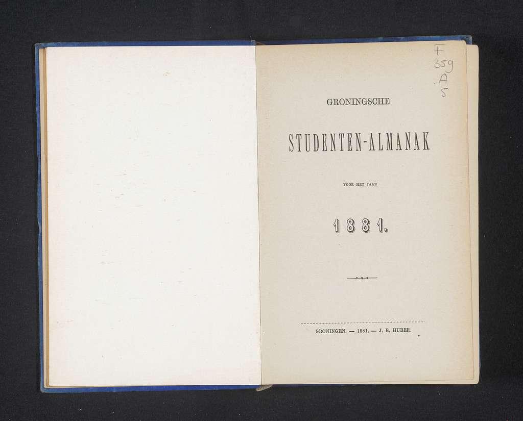 Groninger studenten almanak voor het jaar 1881