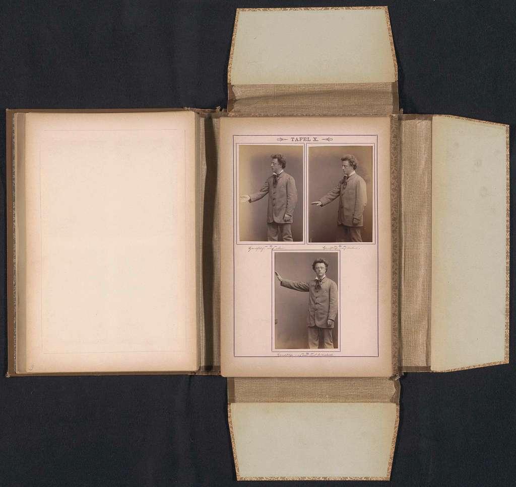 Portretten van een man met drie bewegingen van zijn bovenarm