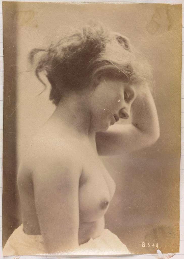 Studie van een vrouwelijk naakt, buste van opzij gezien, het haar omhoog houdend