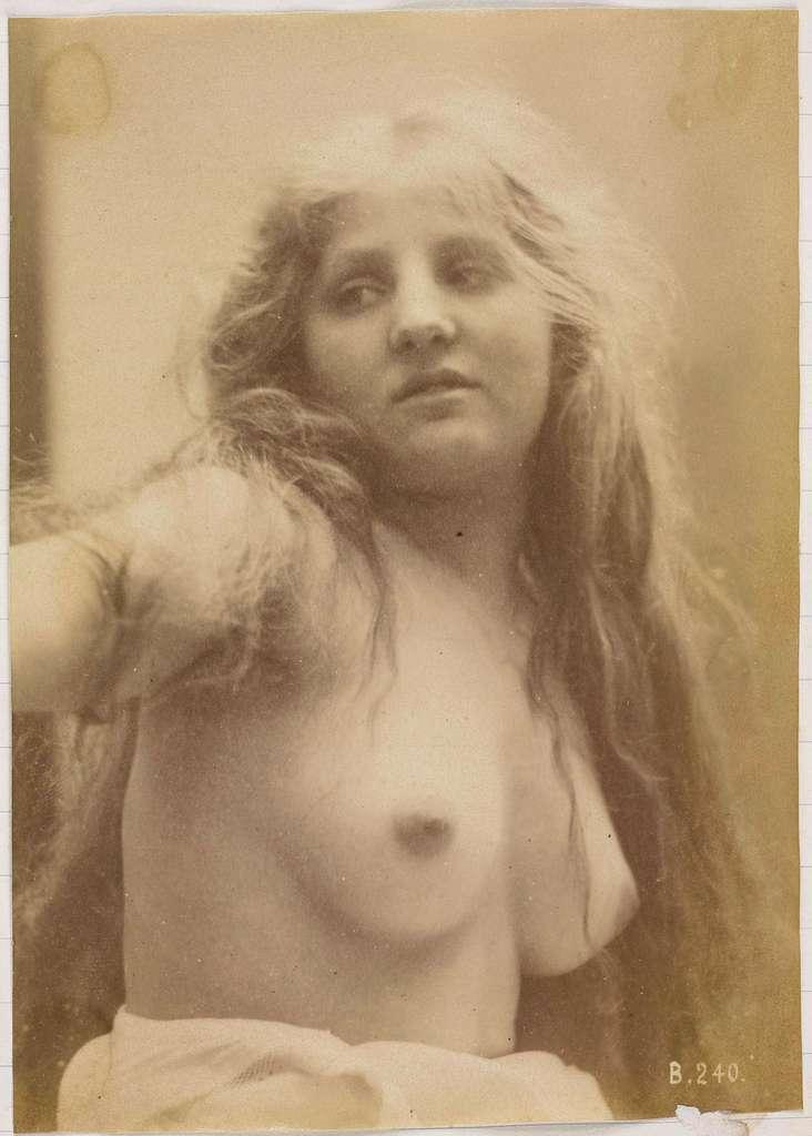 Studie van een vrouwelijk naaktmodel, buste van vooraf gezien
