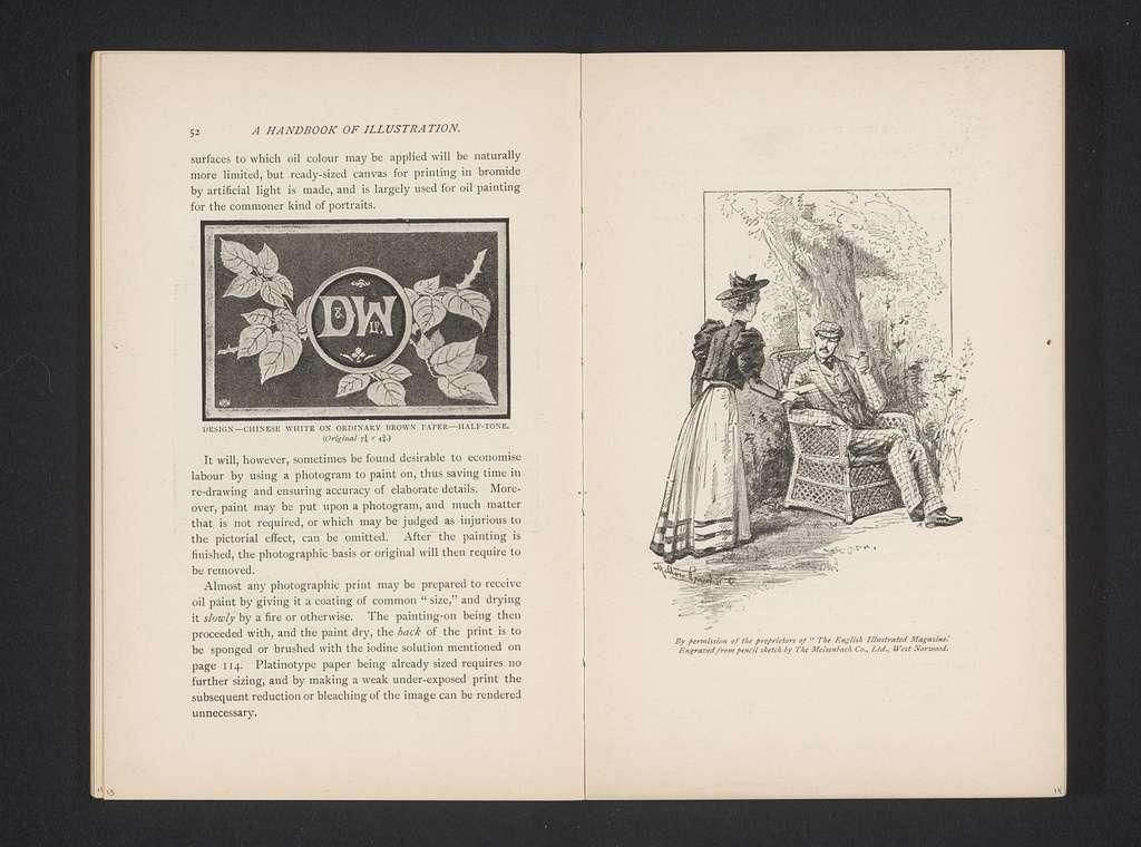 Fotoreproductie van een schets van een vrouw die met een brief naar een man loopt die in een tuin zit