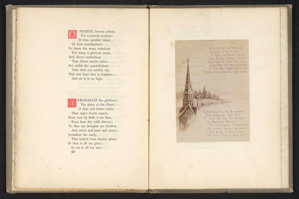 Fotoreproductie van een vers van het gedicht The celestial country met afbeeldingen
