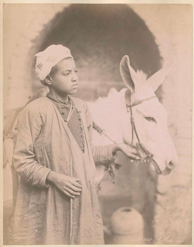 Portret van een Arabische jongen met ezel, Egypte