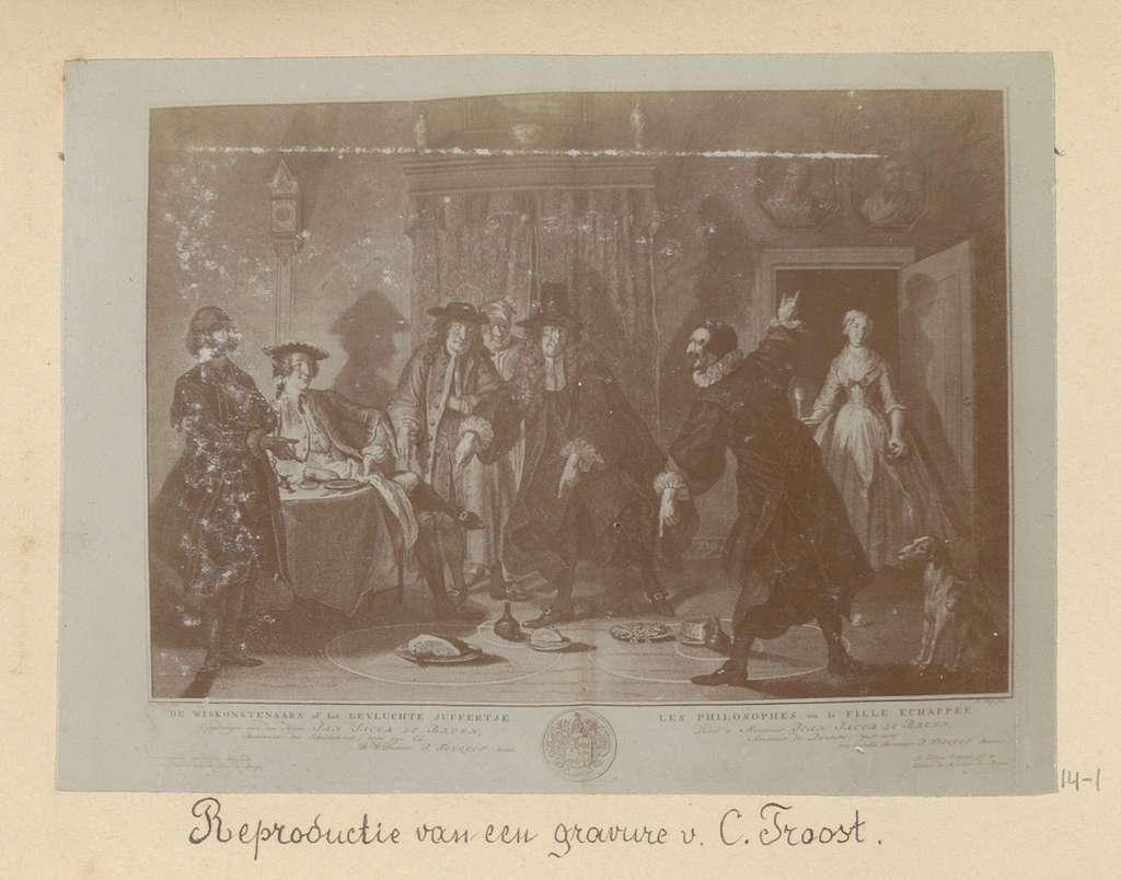 Reproductie van een gravure van Peter Tanjé naar een schilderij van Cornelis Troost