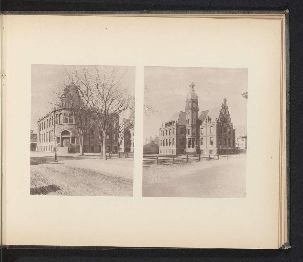 Twee exterieurs van laboratoria van Yale University te New Haven