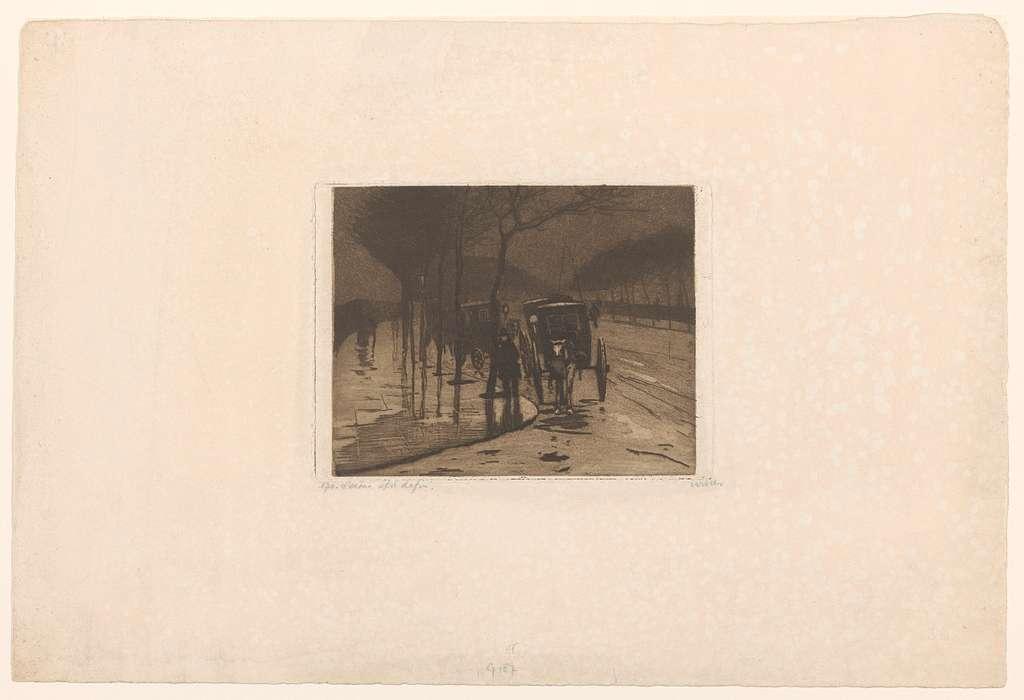 Wachtende rijtuigen op de Victoria Embankment in Londen