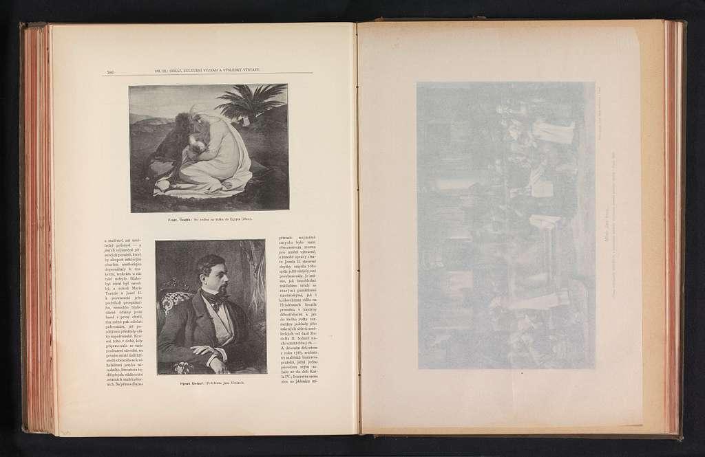 Twee fotoreproducties van schilderijen, voorstellende de rust op de vlucht naar Egypte en een portret van Ignác Umlauf