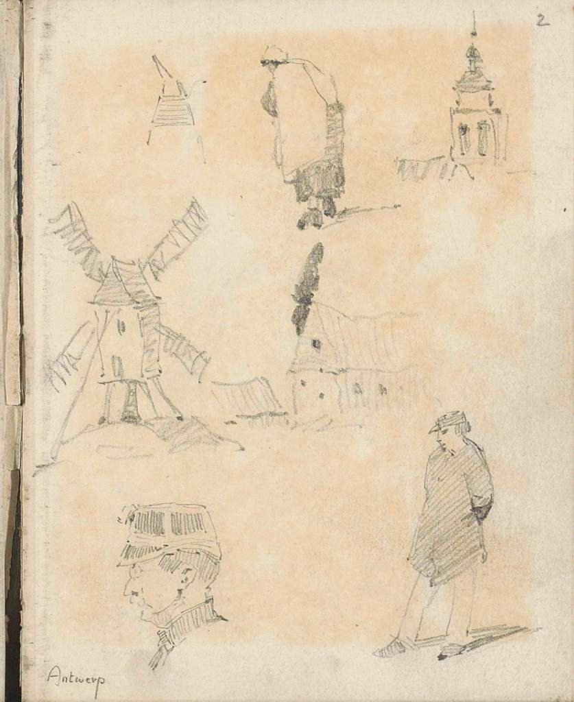 Molen, een kerktoren en figuren te Antwerpen
