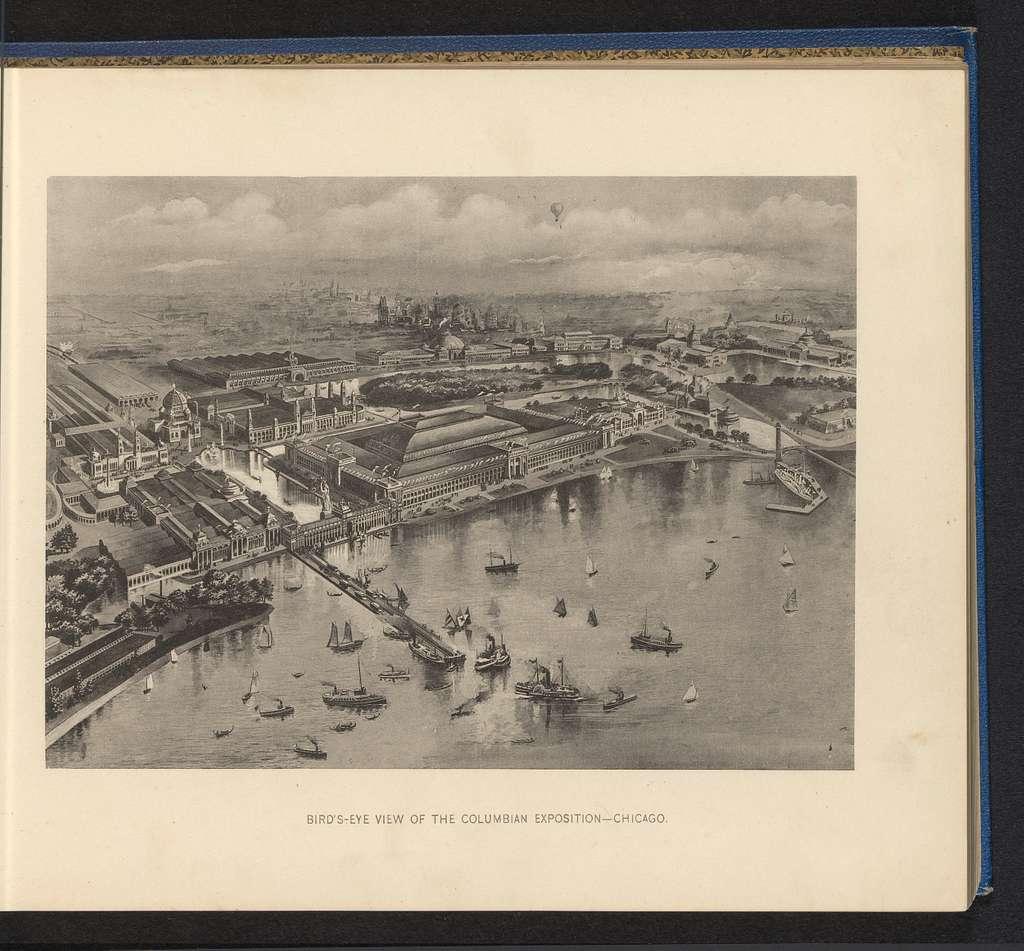 Fotoreproductie van een overzichtstekening van de World's Columbian Exposition in Chicago