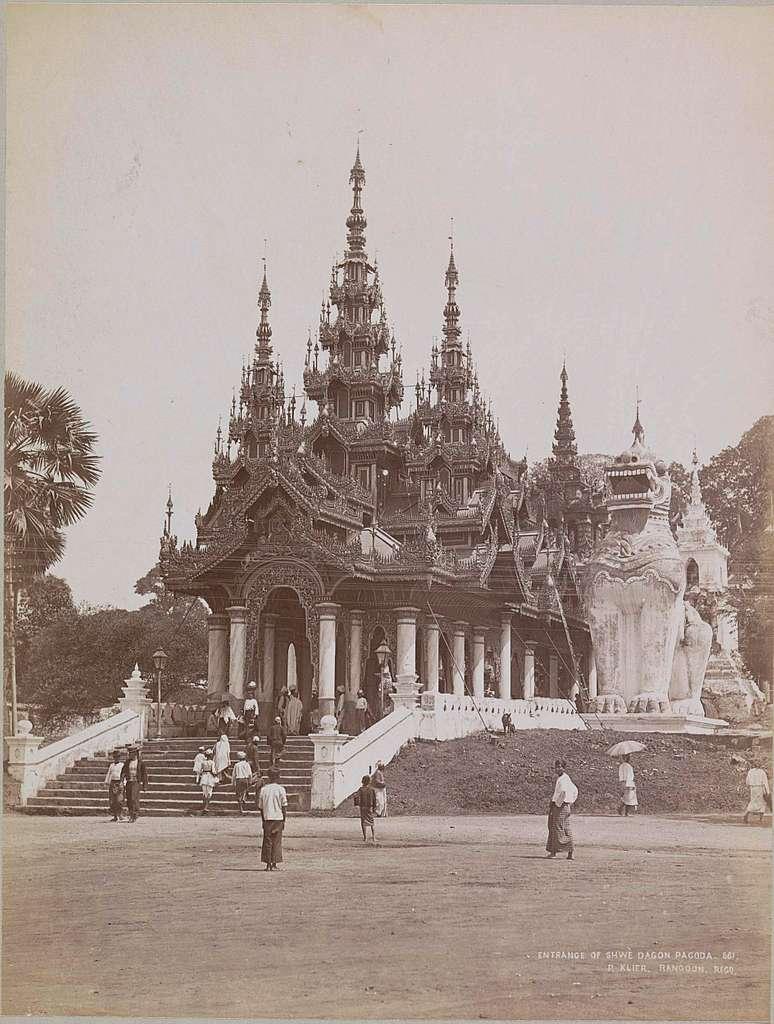 Ingang van de Shwedagon pagode, Rangoon