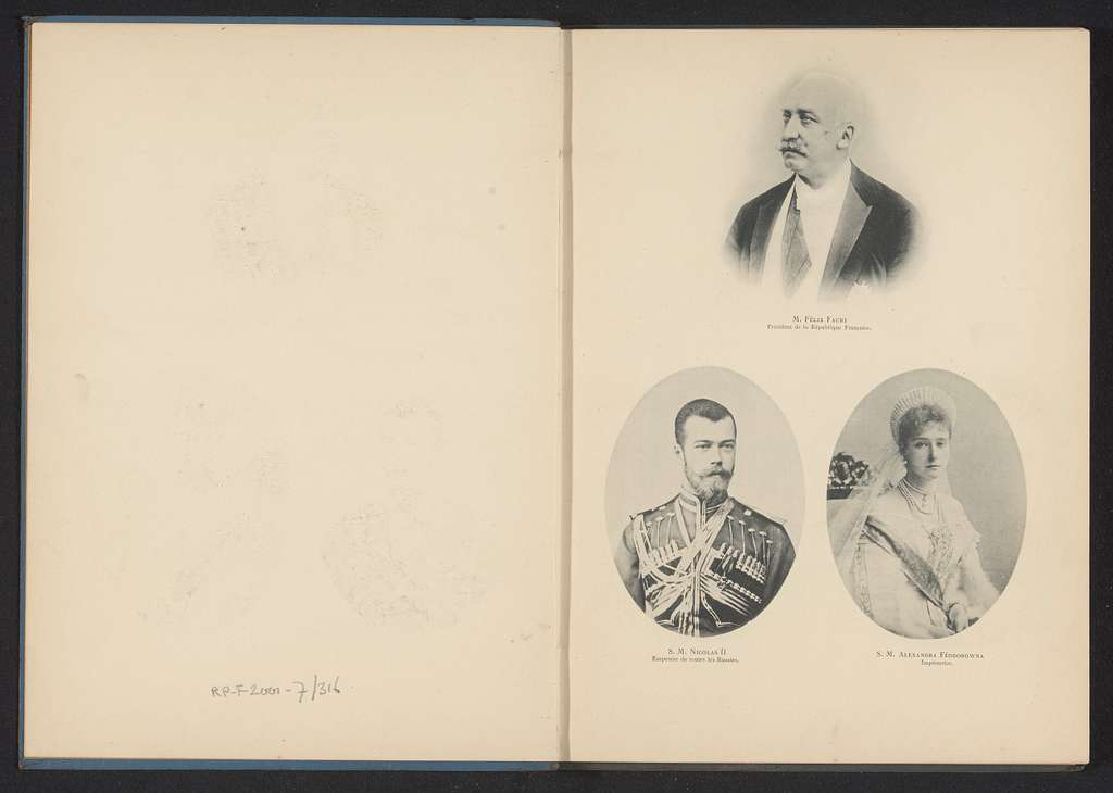 Portretten van president Félix Faure, tsaar Nicolaas II van Rusland en tsarina Alexandra Fjodorovna van Rusland