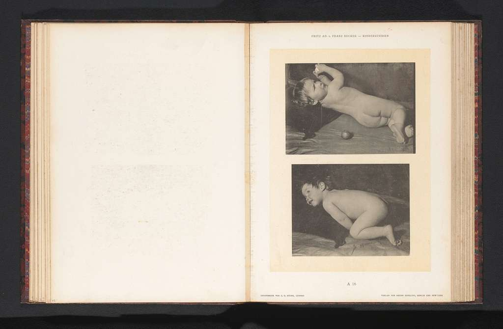 Twee afbeeldingen van een liggend naakt kind