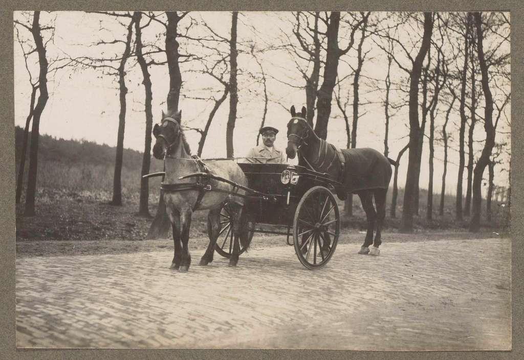 Ruitertafereel op Koninklijke Houtvesterij Het Loo: man in rijtuig met ingespannen paard en paard erachter op een klinkerweg