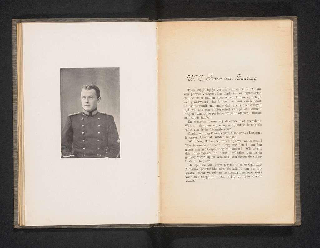 Portret van W.C.Roest van Limburg, cadet-sergeant van de Koninklijke Militaire Academie in Breda